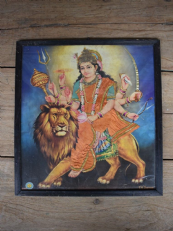 Vintage Print of Goddess Durga on a Lion